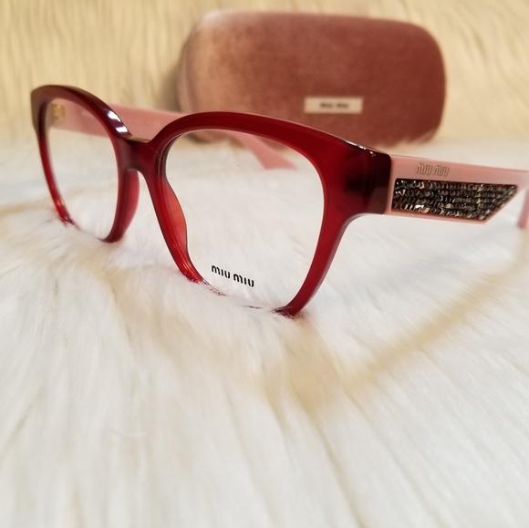 233bca9c1f7b Miu Miu Cat-Eye Eyeglasses RED PINK GlitteryStones